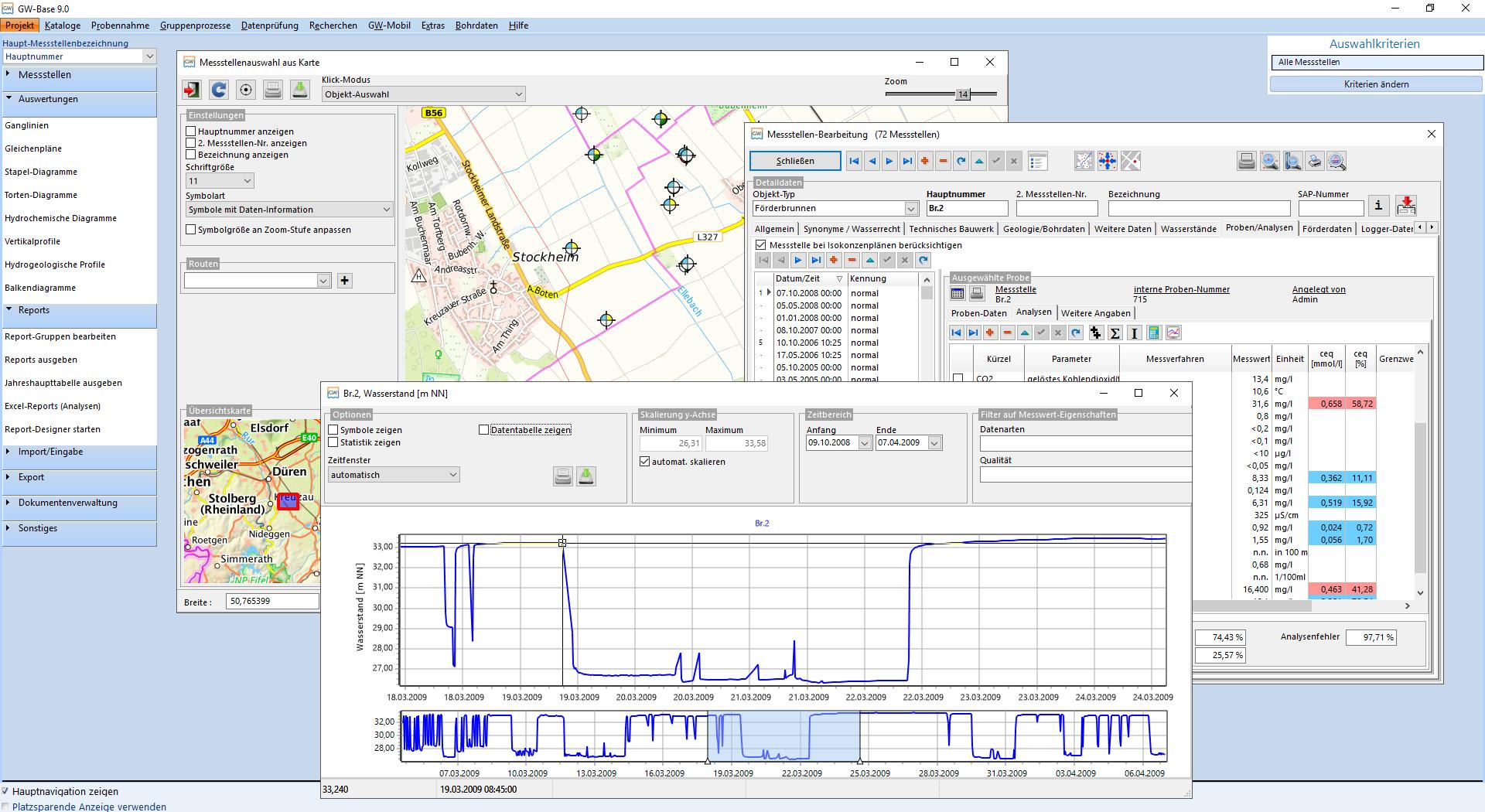 Abbildung 2: GW-Base – Kartendarstellung, Analysen und Auswertungen in der Brunnenakte